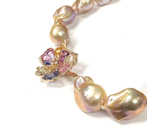 18K Rose Gold Sapphire and Baroque Pearl Necklace by DHD Custom Design