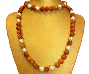 Nephrite Jade Bead & Baroque Pearl Necklace