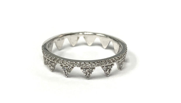 18K White Gold Diamond Stackable Crown Ring