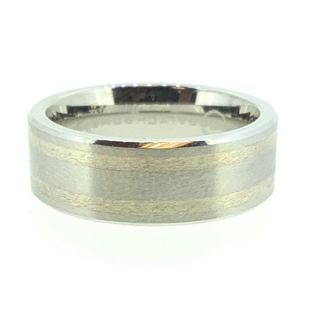 Cobalt/Chrome-Silver 8 mm Wedding Band.