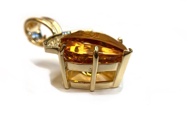 14K Yellow Gold Frame with Carved Citrine Pendant