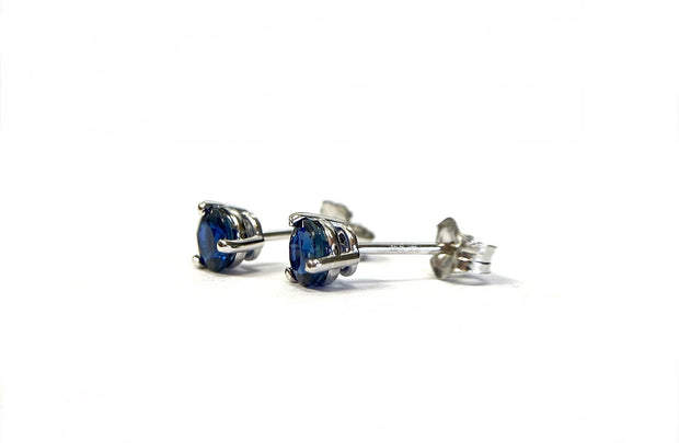 14K White Gold Sapphire Stud Earrings 0.84 ctw