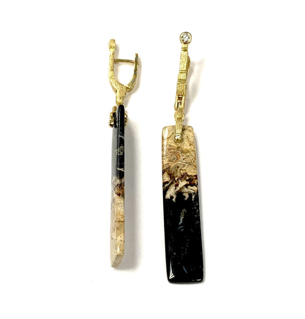 "18K Yellow Gold ""Sticks and Stones"" Earrings by Alex Sepkus"
