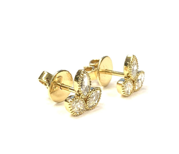 18K Yellow Gold Diamond Rose Cut Stud Earrings