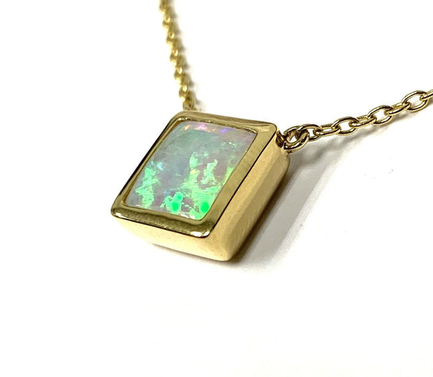 14K Yellow Gold Square Bezel Set Opal Necklace