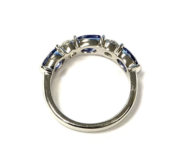 Platinum Oval Sapphire and Round Diamond Band