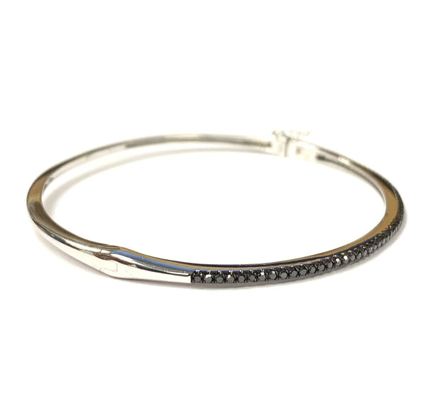 14K White Gold Black Diamond Bangle