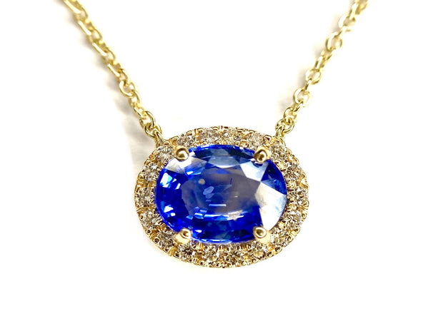 14K Yellow Gold Sapphire & Diamond Halo Necklace