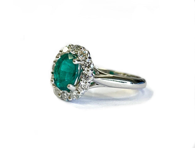 18K White Gold Emerald & Diamond Halo Ring