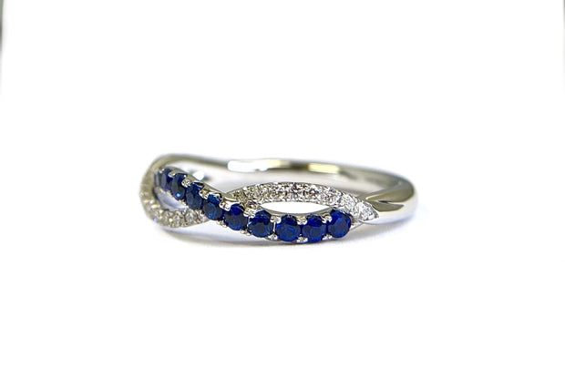 14K White Gold Diamond & Sapphire Infinity Twist Band