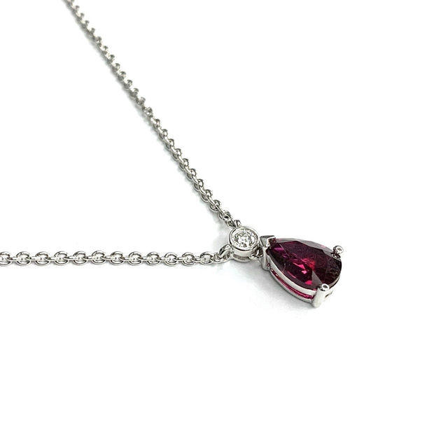 18K White Gold Pear Shaped Ruby Necklace