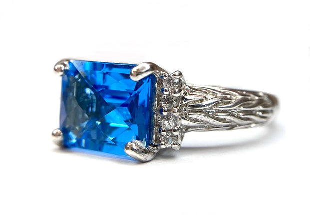 Sterling Sliver Blue Topaz and White Sapphire Ring