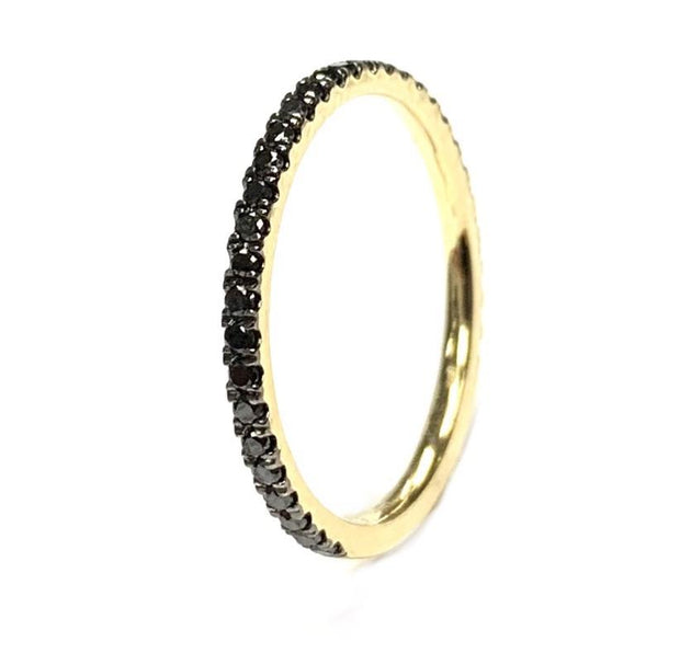 14K Yellow Gold Black Diamond Stacking Band