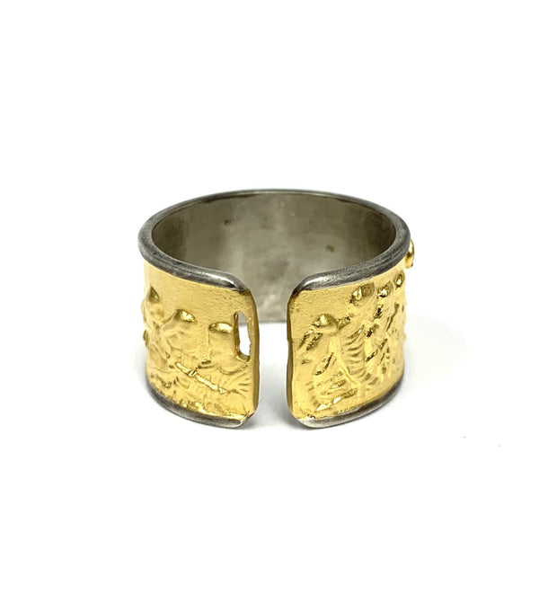 22K Bonded Yellow Gold over Sterling Silver Last Supper Ring