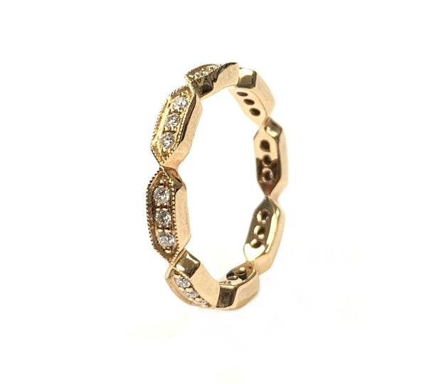 18K Rose Gold Diamond Stacking Band