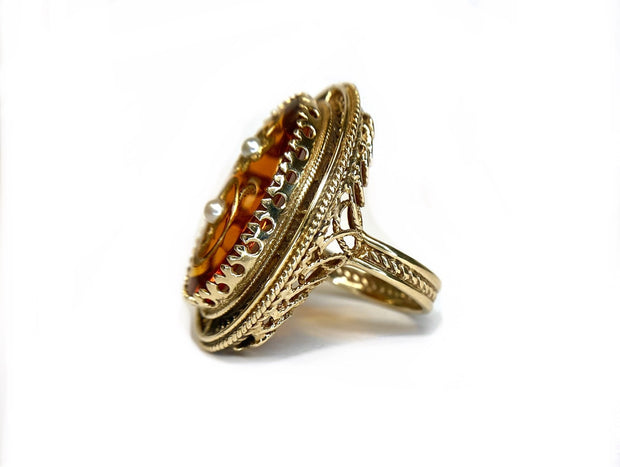 14K Yellow Gold Amber & Pearl Ring