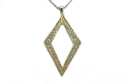 14K Yellow Gold Geometric Diamond Necklace