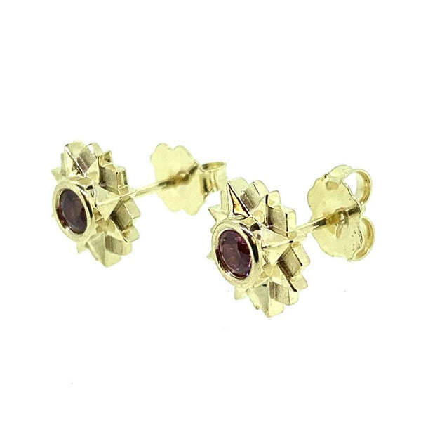 14K Yellow Gold Pink Spinel Stud Earrings