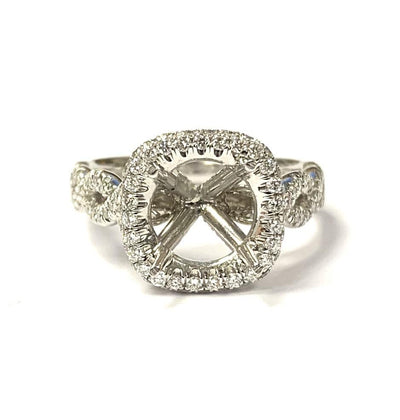 Platinum Diamond Halo Semi-Mounting by Jewels by Star