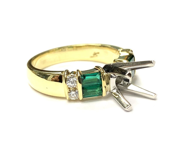18K Yellow Gold / Platinum Diamond & Emerald Semi-Mounting