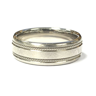 14K White Gold Satin Finished Band