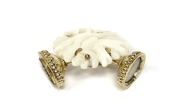 14K Yellow Gold Plated Coral Shaped Pearl Centerpiece