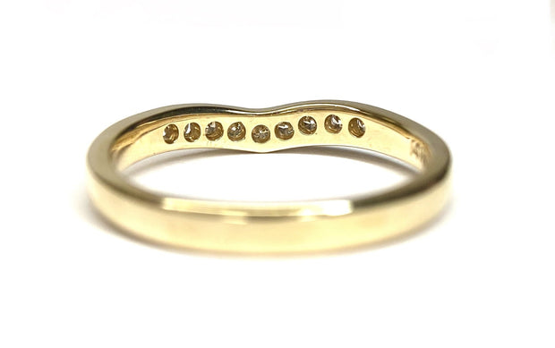 14K Yellow Gold Curved Diamond Band