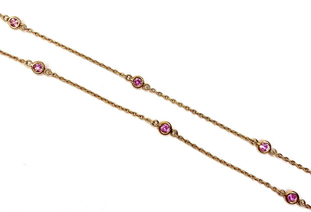 14K Rose Gold Pink Sapphire Gems By The Yard Necklace