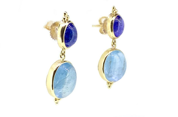 14K Yellow Gold Tanzanite & Aqua Earrings