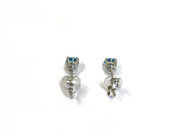 14K White Gold Aquamarine Studs 0.45 ctw