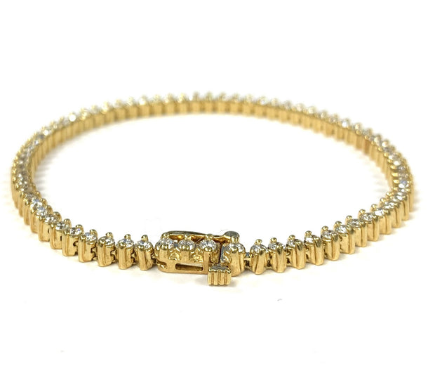 18K Yellow Gold Diamond Tennis Bracelet 2.56 ctw