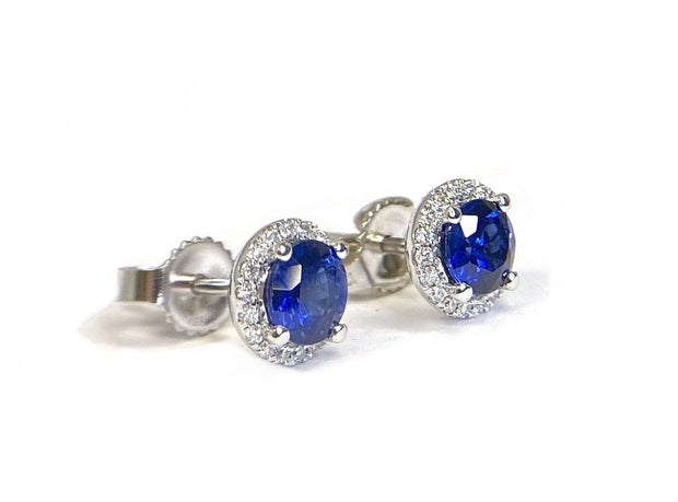 14K White Gold Sapphire & Diamond Halo Earrings