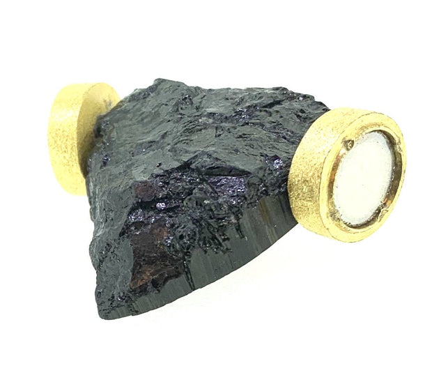 Yellow Gold Plated Clasps and Black River Tourmaline by CWC