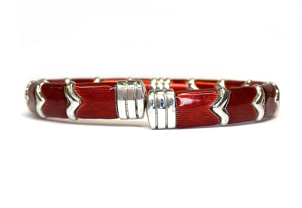 18K White Gold Vermeil & Sterling Silver Diamond Red Enamel Bracelet By Henderson