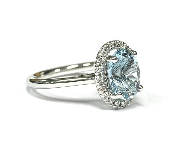 14K White Gold, Aqua Oval, & Diamond Halo Ring