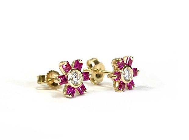 14K Yellow Gold Diamond & Ruby Flower Studs