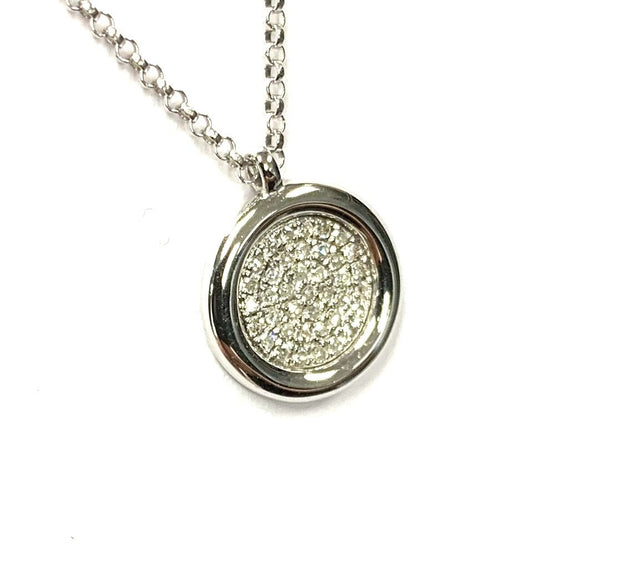 14K White Gold Pave Diamond Disc Necklace & Pendant