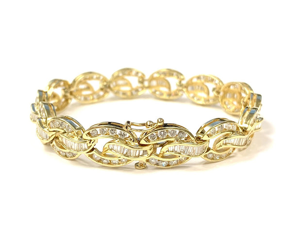 14K Yellow Gold Estate Diamond Link Bracelet