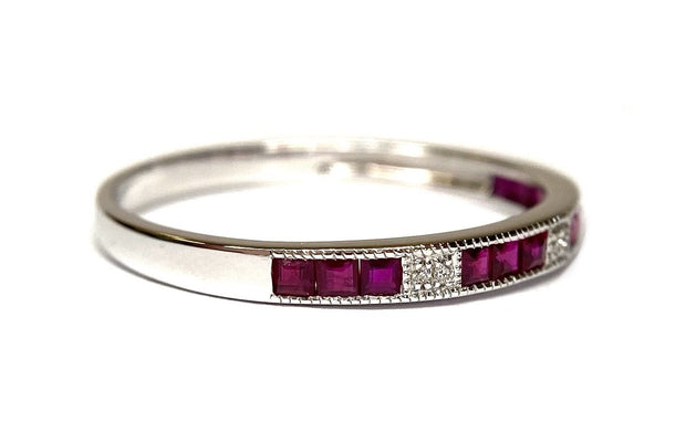 14K White Gold Ruby & Diamond Band