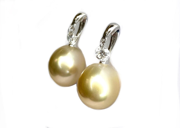 18K White Gold Champagne South Seas Pearls & Diamond Drop Earrings