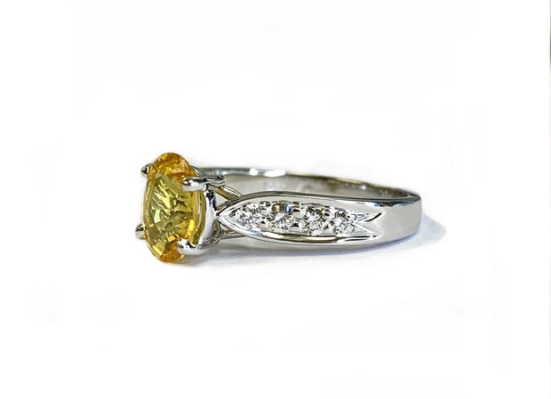 14K White Gold Yellow Sapphire & Diamond Ring