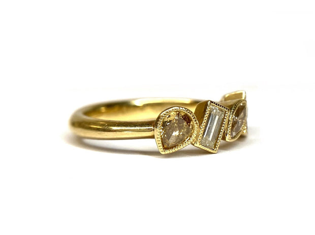 18K Yellow Gold Fancy Colored Diamond Band