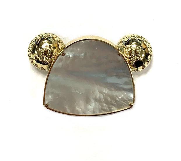 14K Yellow Gold Fuchsite & Mother of Pearl CWC Signature Clasp