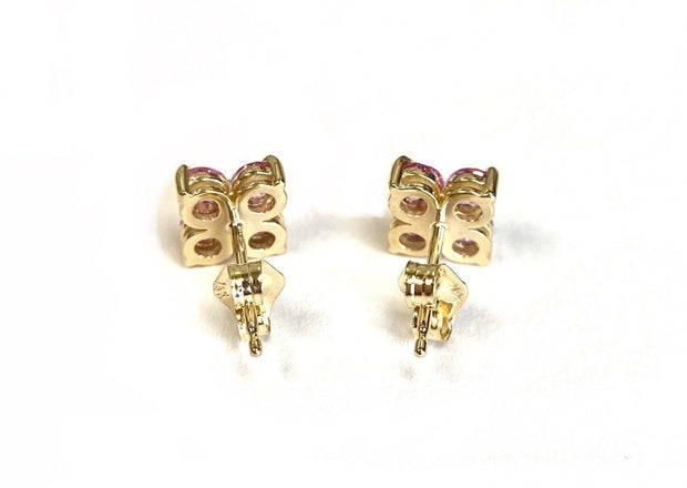 14K Yellow Gold Pink Sapphire Cluster Earrings