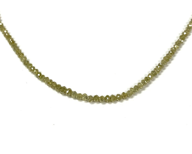 Round Yellow / Green Faceted Diamond Bead Necklace