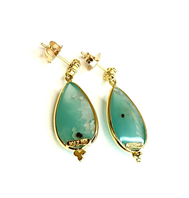 14k Yellow Gold Aquaprase Drop Earrings