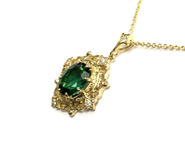 14K Yellow Gold Oval Tourmaline Necklace