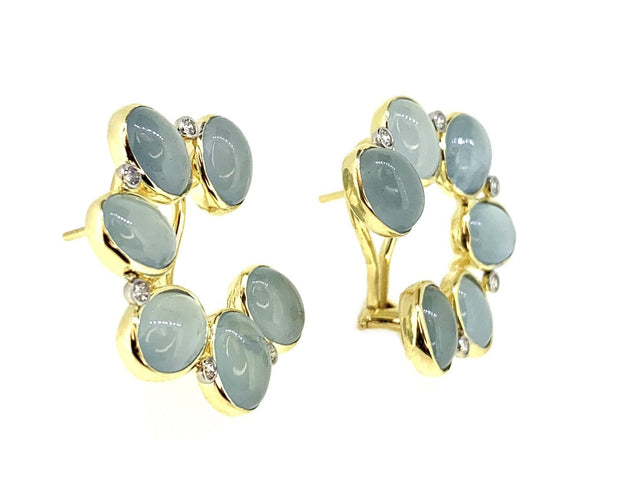 14K Yellow Gold Aqua Cabochon & Diamond Earrings