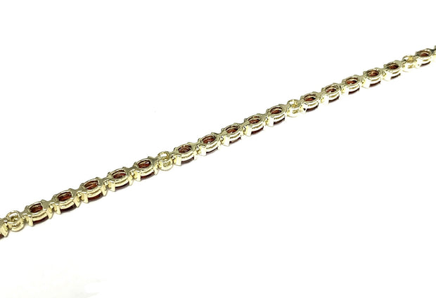 14K Yellow Gold Garnet Tennis Bracelet