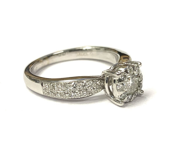 18K White Gold Diamond Bouquet Ring 0.60 ctw